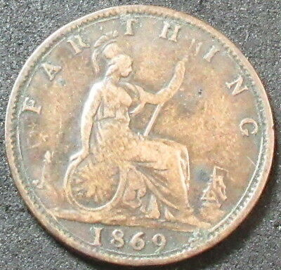 1869 Great Britain Farthing Coin