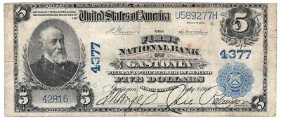 1902 $5 The First National Bank of Gastonia, North Carolina Ch 4377 Very Good