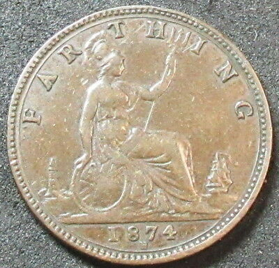 1874-H Great Britain Farthing Coin