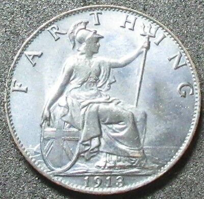 1913 Great Britain Farthing Coin