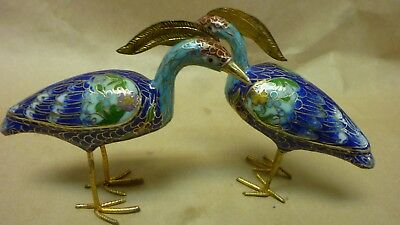 Pair Of Vintage Chinese Cloisonne Enamel Crane Blue