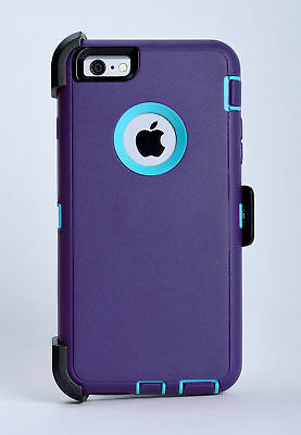 iPhone 6s & iPhone 6 Case w/Holster Belt Clip Fits Otterbox Defender Purple Teal
