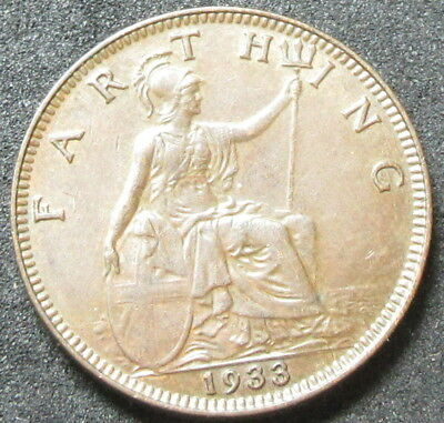 1933 Great Britain Farthing Coin