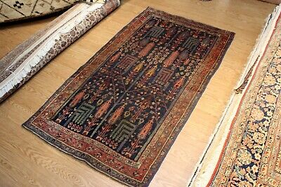 19th Century 5' x 8' Persian Bidjar Authentic Handmade Rug garden design