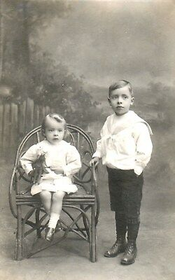Fine Edwardian Photographic Postcard,Young Boy in Sailor Suit & Little Girl.