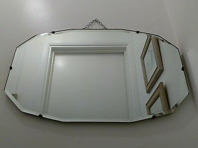 Original Vintage Art Deco / Mid Century Bevelled Hanging Wall Mirror With Chain