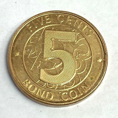 """2014 Zimbabwe 5 Cents USD-equivalent RBZ """"Bond Coin"""" Backed by Afrexim Loan"""