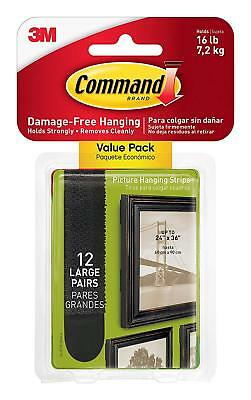 Command 17206BLK-12ES Large Picture Hanging Strips, Holds 16 pounds, 12 Pairs