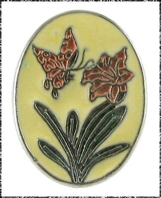 Oval Metal Button with a Butterfly & Flower, Cold Enamel