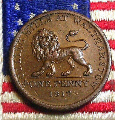 1812 Walthamstow Lion Token Colonial Revolutioary War Days Of Old Penny Coin Xf!