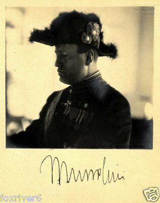 BENITO MUSSOLINI Signed Photograph - Italy Fascist WW 2 Leader Dictator preprint