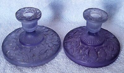 Amethyst Glass Consolidated Phoenix Pair Candleholders