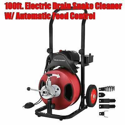 """Commercial 100FT 3/8"""" Electric Drain Auger Sewage Cleaner Machine Snake w/Cutter"""