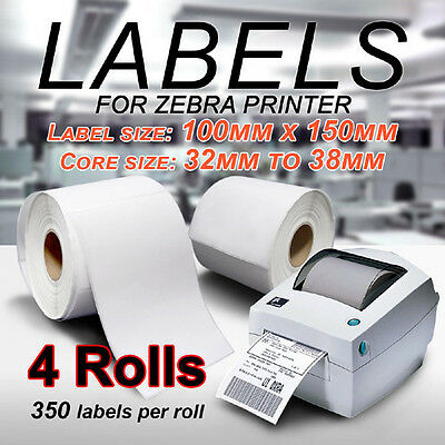 4 x Thermal Direct Labels Roll 100 X 150mm Fastway Startrack Zebra SATO DATA MAX