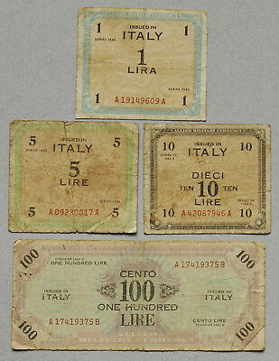 ITALY WWII Allied Military Currency 1,5,10,100 Lire 1943 Lot of 4 AMC Notes NR!