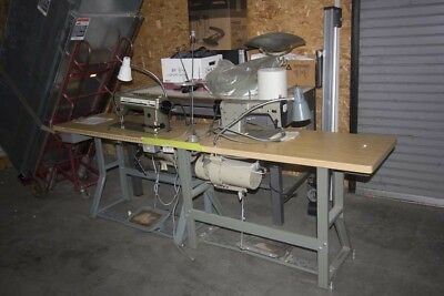 Lot of (2) Commercial Sewing Machines on Stands w Footpedal--JUKI  SINGER 591 D