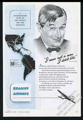 1945 Will Rogers portrait and quote Braniff Airways vintage print ad