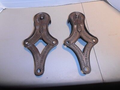 Vintage Original Cast Iron Reliable Hanger Barn Door Track Rollers Matched Pair