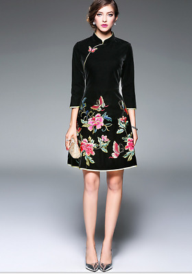 Womens Chinese Floral Embroidery Cheongsam Dress Slim A-Line Formal Thigh Long