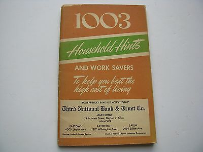 Vtg 1951 Dayton Ohio National Trust Co Bank 1003 HOUSEHOLD HINTS Book Promotion