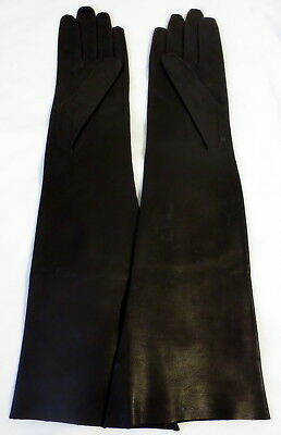 Vintage Dark Brown Long Italian Leather Gloves, Size 7 1/2,15 5/8 Inches Long