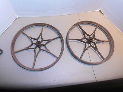Vintage Original Cast Iron Planet Junior Cultivator Wheels (Pair)
