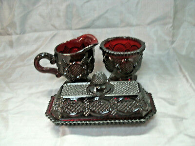 Avon CAPE COD 1876 Ruby Red Collection Butter Dish 4 oz. Creamer & Sugar Bowl EC