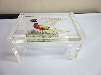 Vintage carved lucite 1950's cigarette box. Quail or Pheasant bird