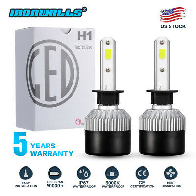 IRONWALLS H1 COB LED Headlight Kit 1320W 198000LM High Beam Bulb Xenon 6000K