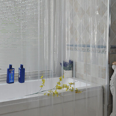 Solid Clear  Water Repellant Bathroom Shower Curtain  Peva Liner