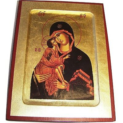 Virgin Mary and Divine Child Devotional Icon with sheets of Gold (Lithography) (