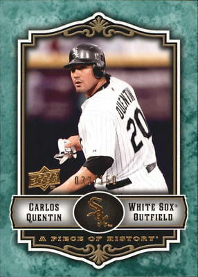 2009 UD Piece of History Green White Sox Baseball Card #21 Carlos Quentin /150