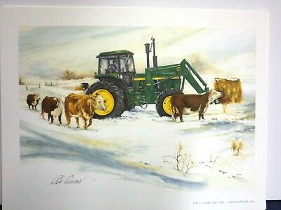 JOHN DEERE TRACTOR ART by RAY CROUSE - EARLY MORNING CHORES - SIGNED PRINT ONLY