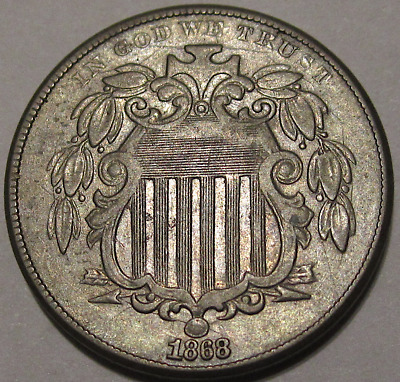 1868 Shield Nickel Reverse of '1867' Nice Original Type Coin, About Uncirculated