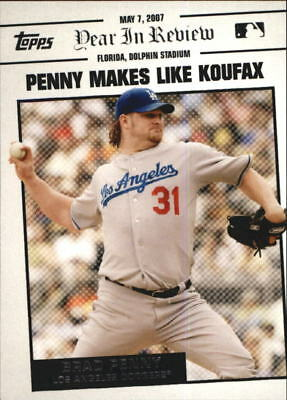 2008 Topps Year in Review Los Angeles Dodgers Baseball Card #YR37 Brad Penny