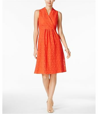NY Collection Womens Lace A-line Fit & Flare Dress coral PM - Petite