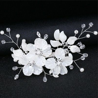 Women Bride Hair Comb Floral HairComb Wedding Prom Jewelry Tiara Handmade White