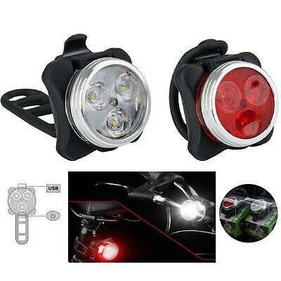 Waterproof Bicycle Bike Head Lights Front Rear Tail Light Lamp USB Rechargeable