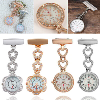 Stainless Steel Diamante Nurse Watch Brooch Pin Tunic Fob Watches Pocket Pendant