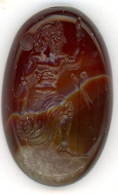 Large Roman Style Natural Striped Carnelian Intaglio Signet Seal
