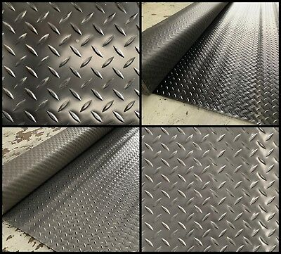 Checker Plate Pvc Rubber Black & Graphite Garage Flooring 2M Wide X 2.5Mm Thick