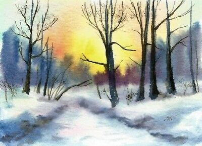 ACEO  winter painting snow Woodland original landscape watercolour art card