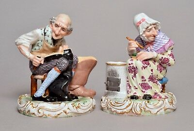 Good Pair Of Large Antique German Or Edme Samson Porcelain Figures