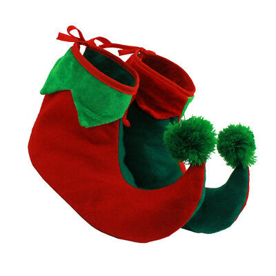 Childs Elf Boots Shoe Covers Xmas Santas Helper Jester Christmas Fancy Dress