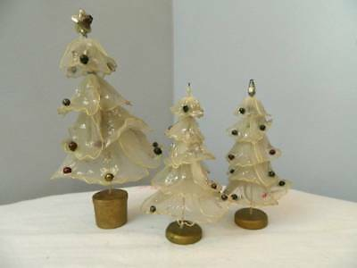 Vintage sheer wired mercury ball christmas trees lot of 3