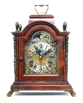 Warmink Wuba Dutch Moon-Phase Bell-Striking Bracket Shelf Clock Works Well
