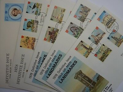 IOM definitives 1978-81 1 p - £ 2 FDC's