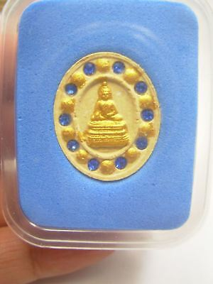 Small  Beauty Auth Holy Lp.phra Sai ,phra Serm With Blue Gemstone Amulet Pendant