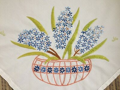 Pretty Vintage Tablecloth Hand Embroidered Hyacinths