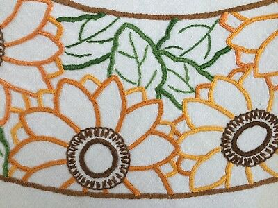 Pretty Vintage Deco Tablecloth Hand Embroidered Sunflowers